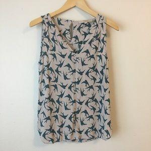 LOFT Sleeveless Bird Print Blouse